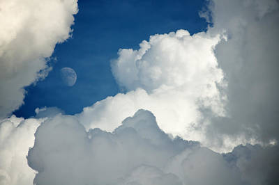 Majestic Storm Clouds With Moon Poster