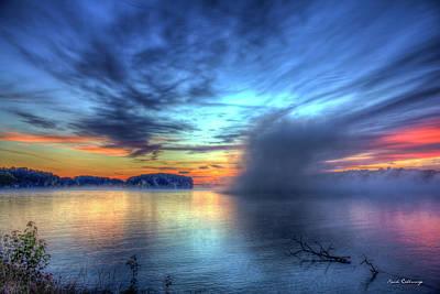 Majestic Sunrise Fog Sugar Creek Lake Oconee Poster