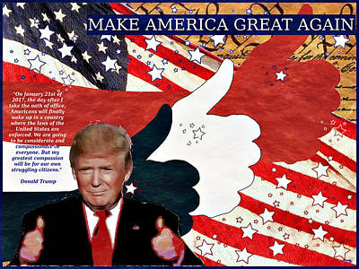 Make America Great Again - President Donald Trump Poster by Glenn McCarthy Art and Photography
