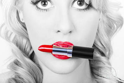 Make-up Closeup. Cosmetic Pinup Girl In Lip Makeup Poster by Jorgo Photography - Wall Art Gallery