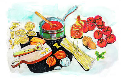 Poster featuring the drawing making Italian tomato's sauce by Ariadna De Raadt
