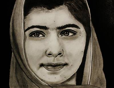 Poster featuring the drawing Malala Yousafzai- Teen Hero by Michael Cross