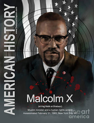 Poster featuring the digital art Malcolm X American History by Dwayne Glapion