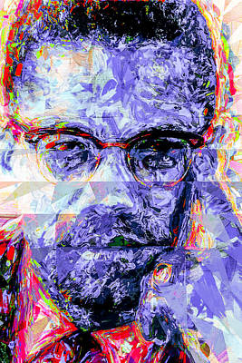 Malcolm X Digitally Painted 1 Poster