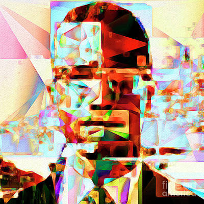 Malcolm X In Abstract Cubism 20170329 Square Poster by Wingsdomain Art and Photography