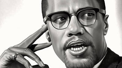 Malcolm X Drawing Poster