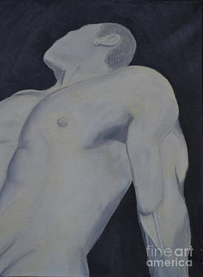 Poster featuring the painting Male Black And White by Lori Jacobus-Crawford