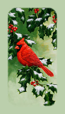 Male Cardinal And Holly Phone Case Poster by Crista Forest