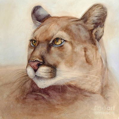 Poster featuring the painting Male Cougar by Bonnie Rinier