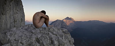 Male Nude In The Mountain Poster
