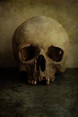 Male Skull In Retro Style Poster