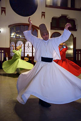 Male Sufi Whirling Dervish In White At A Sema Ceremony With Musi Poster