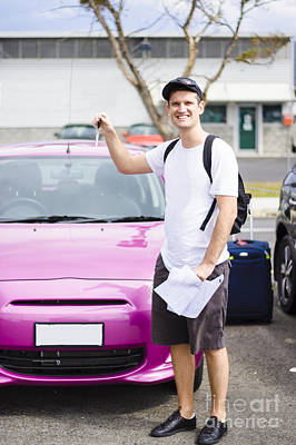 Male Tourist In Carpark Holding Car Hire Keys Poster by Jorgo Photography - Wall Art Gallery