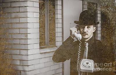 Male Vintage Detective On Old Phone Poster