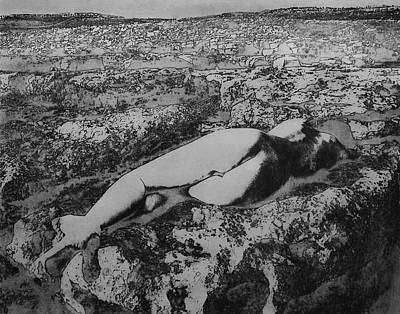 Poster featuring the photograph Malham Cove Nude, Yorkshire by Richard Wiggins