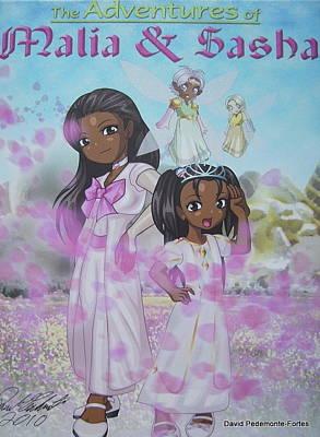 Malia And Sasha Poster by Artists With Autism Inc