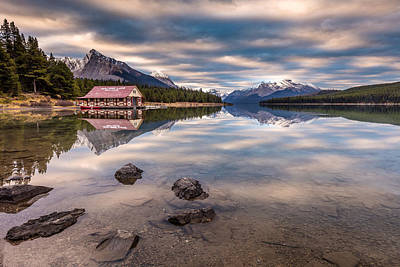 Poster featuring the photograph Maligne Lake Boat House Sunrise by Pierre Leclerc Photography