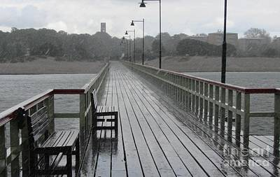 Malmo Pier In A Rain Storm Poster by Jackie Tweddle