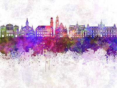 Malmo Skyline In Watercolor Background Poster by Pablo Romero