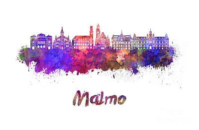 Malmo Skyline In Watercolor Poster by Pablo Romero