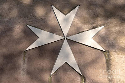 Maltese Cross In Travertine Poster by Fabrizio Ruggeri