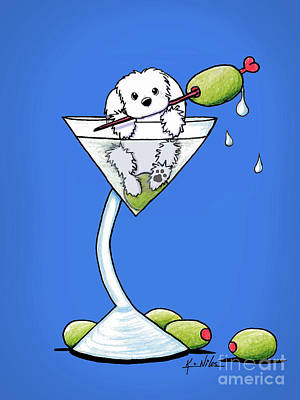 Maltese Martini Poster by Kim Niles
