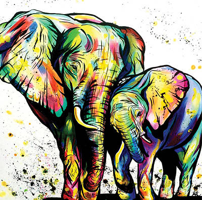 Mama And Baby Elephant Poster by Abbi Kay