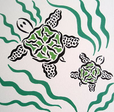 Poster featuring the painting Mama And Baby Sea Turtle by Beth Akerman