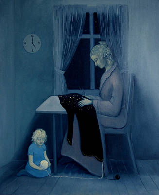 Poster featuring the painting Mama Knitting Big Sister Home by Tone Aanderaa