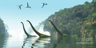 Mamenchisaurus Dinosaur Foggy Day Poster by Corey Ford