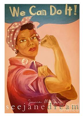 Mamie's Pink Tea We Can Do It Poster by Janie McGee