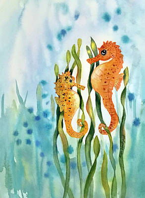 Mamma And Baby Seahorses Poster