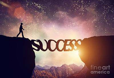 Man About To Walk Over Precipice On Success Word Bridge Poster