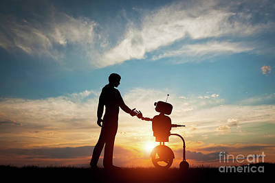 Man And Robot Meet And Handshake. Concept Of The Future Interaction With Artificial Intelligence Poster