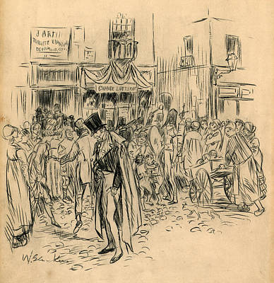 Man At Lottery Office Poster by William Glackens