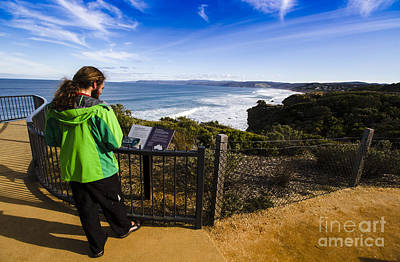 Man Enjoying Scenic View Of Fairhaven Surf Beach Poster by Jorgo Photography - Wall Art Gallery