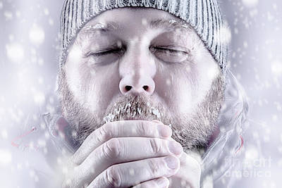 Man Freezing In Snow Storm White Out Close Up Poster by Simon Bratt Photography LRPS