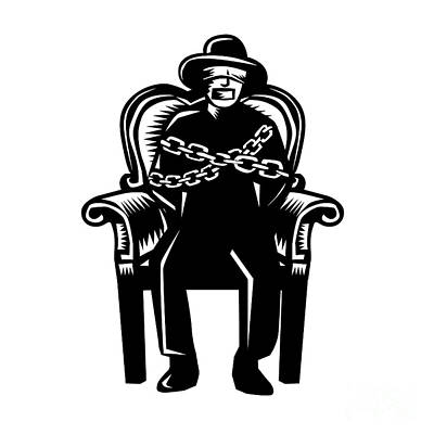 Man Gagged Chained To Grand Arm Chair Woodcut Poster by Aloysius Patrimonio