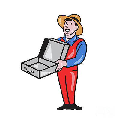 Man Holding Empty Open Suitcase Cartoon Poster by Aloysius Patrimonio