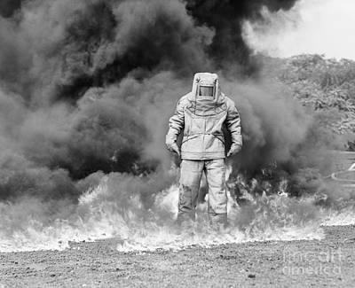 Man In Asbestos Suit Standing Poster