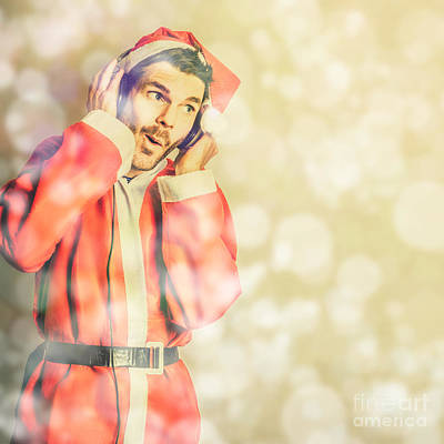 Man In Santa Costume Listening To Christmas Songs Poster