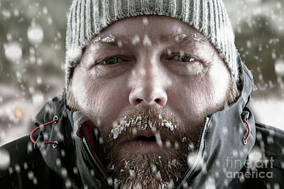 Man In Snow Storm Close Up Poster by Simon Bratt Photography LRPS