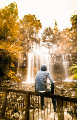 Poster featuring the photograph Man Looking At Waterfall by Jorgo Photography - Wall Art Gallery