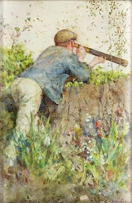 Poster featuring the painting Man Looking Through A Telescope by Henry Scott Tuke