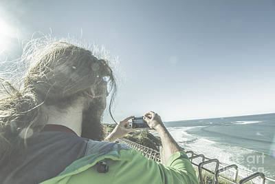 Man Photographing Angelsea On The Great Ocean Road Poster