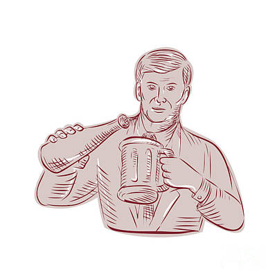 Man Pouring Beer Mug Etching Poster