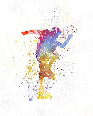 Man Roller Skater Inline 02 In Watercolor Poster