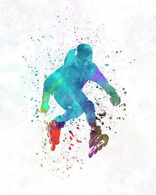 Man Roller Skater Inline In Watercolor Poster