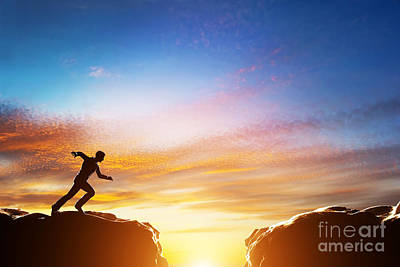 Man Running Fast To Jump Over Precipice Between Two Mountains Poster