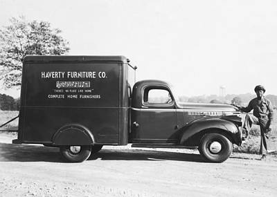 Man With Delivery Truck Poster by Underwood Archives